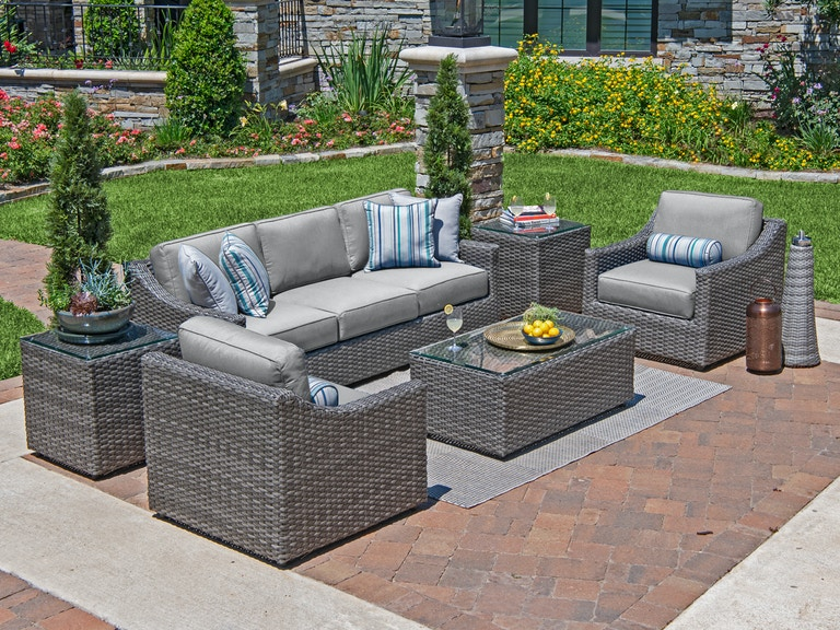 Horizon Saddle Grey Aluminum And Resin Wicker 3 Pc Cushion Sofa Group With 44 X 24 In Glass Top Coffee Table