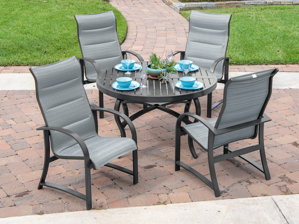 Pleasant Ibiza Grey Aluminum 5 Pc Padded Sling Dining Setwit 48 In Slat Top Table Camellatalisay Diy Chair Ideas Camellatalisaycom