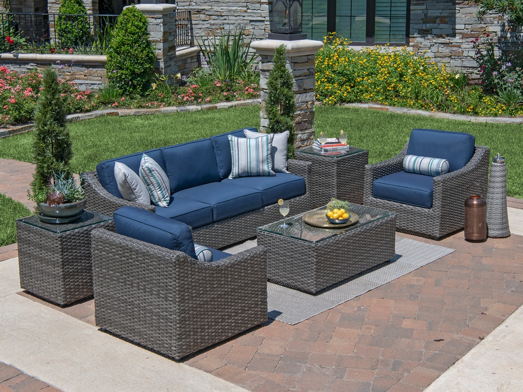 Pleasing Horizon Saddle Grey Aluminum And Outdoor Wicker 3 Pc Cushion Sofa Group With 44 X 24 In Coffee Table Inzonedesignstudio Interior Chair Design Inzonedesignstudiocom