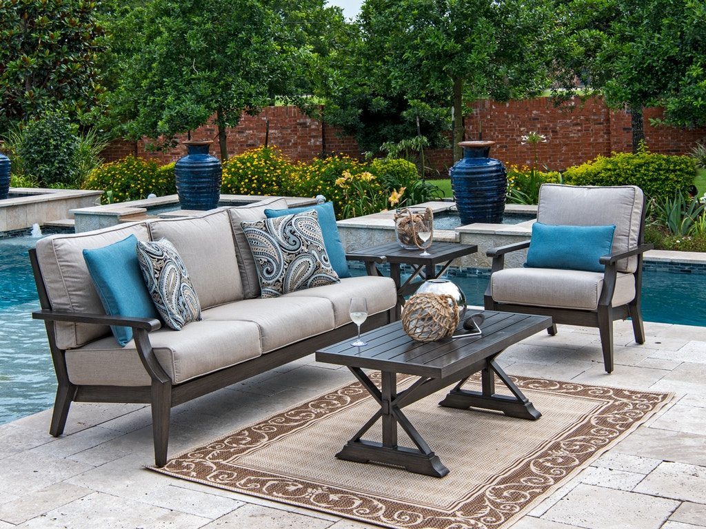 Monaco Weathered Teak Aluminum and Outdoor Wicker 3 Pc. Cushion Sofa Set  with 42 x 22 in Coffee Table