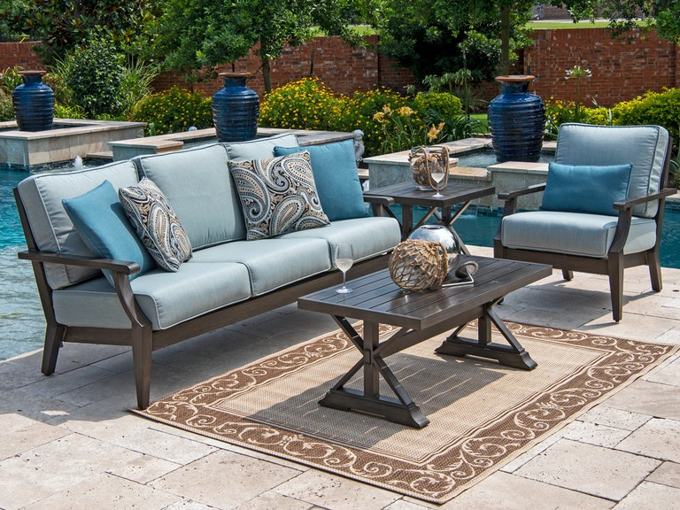 Monaco Weathered Teak Outdoor and Resin Wicker 3 Pc. Cast Mist Cushion Sofa  Group with 42 x 22 in Coffee Table