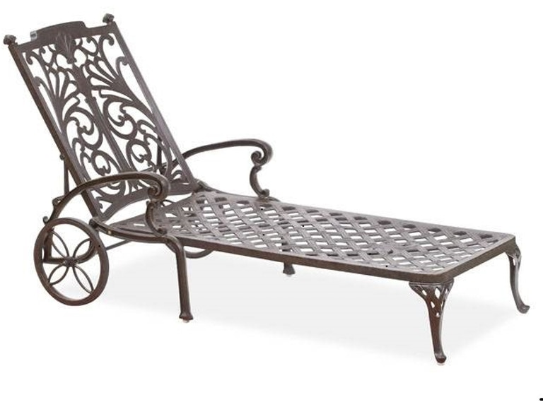Outdoor Patio Naples Adjustable Chaise Lounge With Wheels