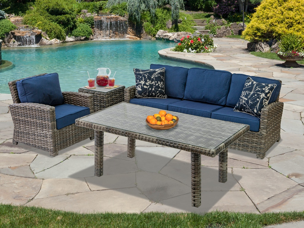 Contempo Weathered Teak Aluminum and Outdoor Wicker 3 Pc. Cushion Seating  Group with Lounge Height Coffee Table
