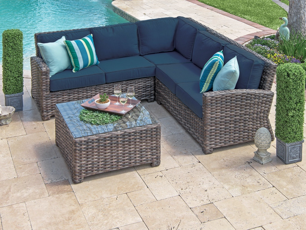 Contempo Weathered Teak Outdoor Wicker 3 Pc. Indigo Cushion Sectional Group