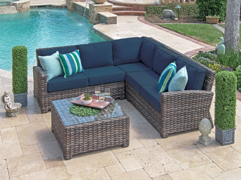 Contempo Weathered Teak Aluminum And Resin Wicker 4 Pc Cushion Sectional Sofa Group With 32 In Gl Top Coffee Table