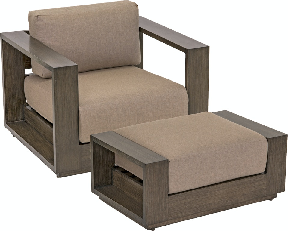 Groovy Palisades Weathered Teak Aluminum Club Chair With Free Ottoman Cjindustries Chair Design For Home Cjindustriesco