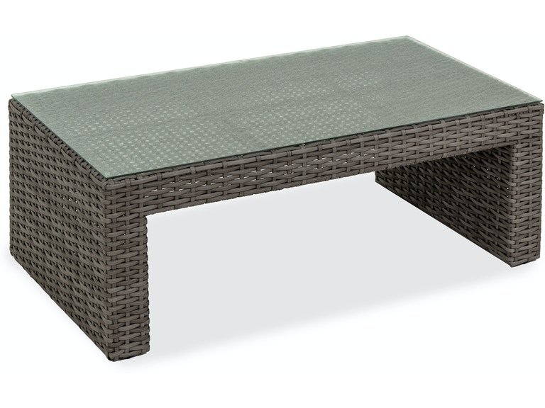Havana Saddle Grey Aluminum And Woven Resin Wicker 52 X 28 Glass Top Coffee Table
