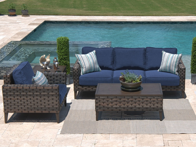 Santorini Grey Saba Aluminum And Outdoor Wicker 3 Pc Cushion Sofa Group With 44 X 24 In Coffee Table
