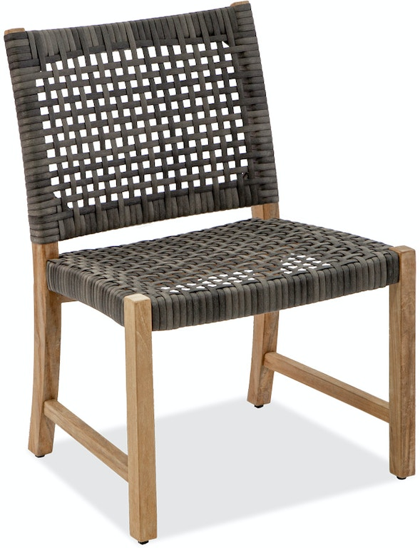 Outdoor Patio Hampton Driftwood Outdoor Wicker And Solid Teak Dining Side Chair 7936352 Fortunoff