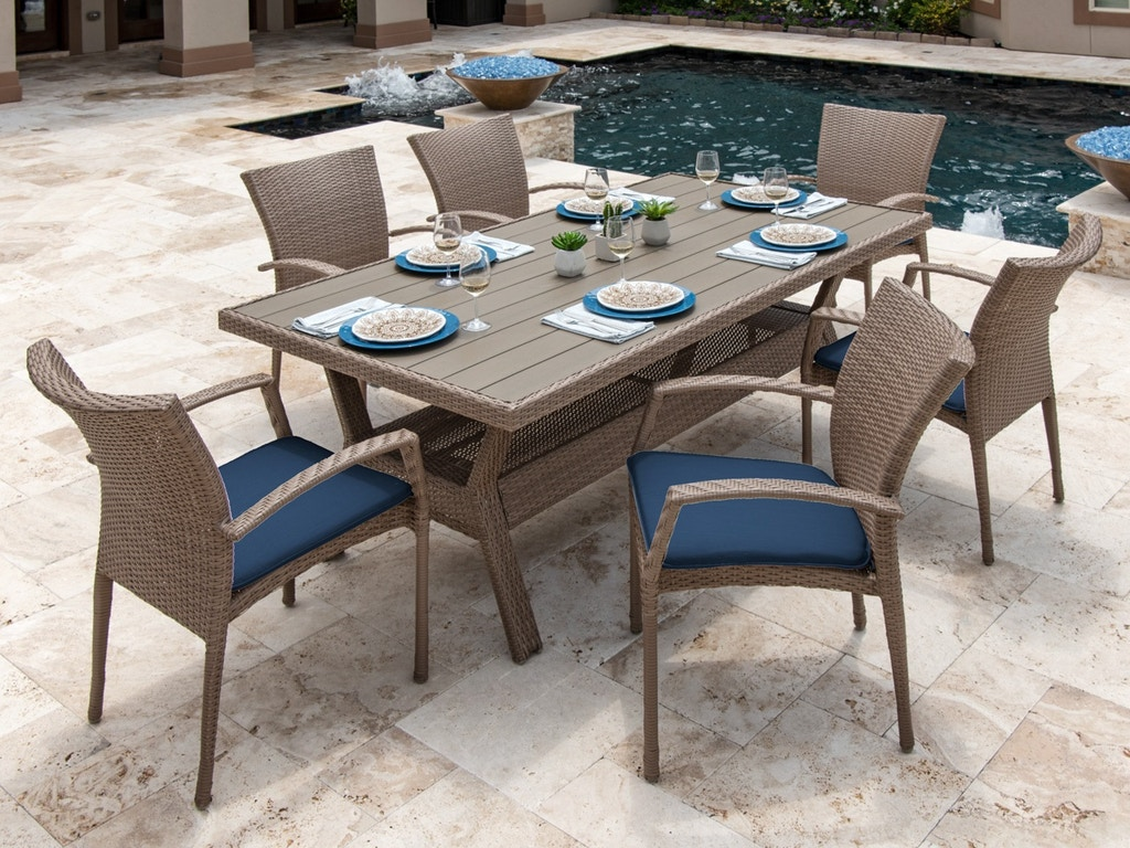 Sierra Driftwood Aluminum and Outdoor Wicker Dining Set with 76 x 42 in.  Slat Top Table