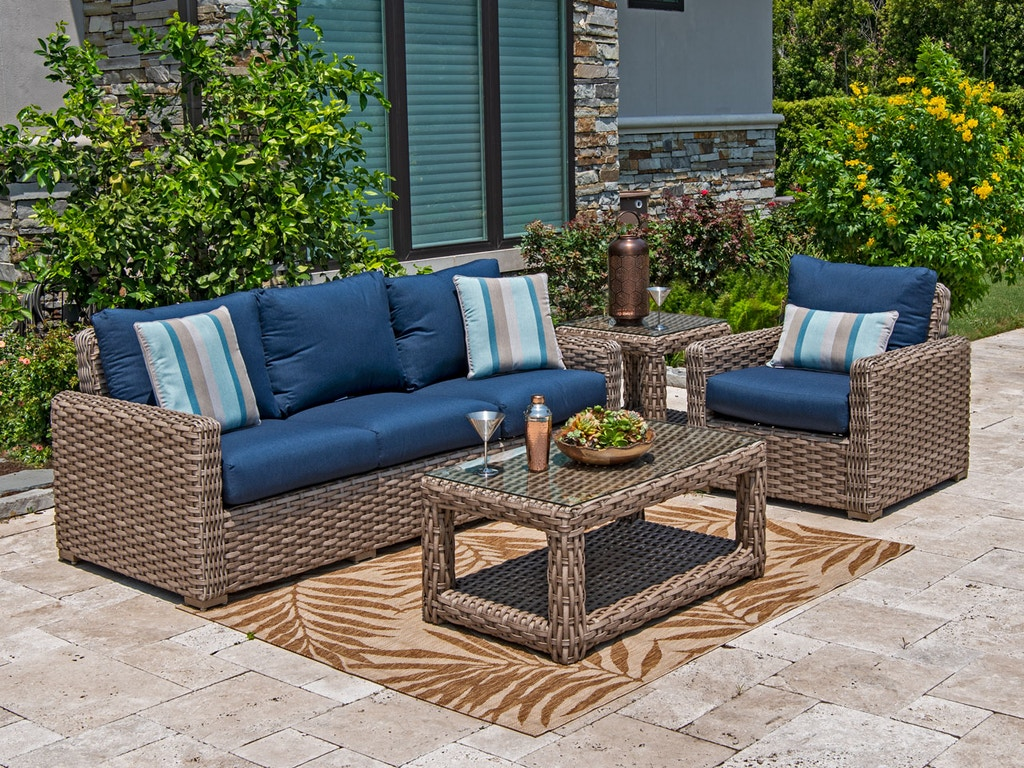 Siesta Aged Teak Outdoor Wicker 3 Pc. Spectrum Indigo Cushion Sofa Group  with 42 x 24 in. Coffee Table