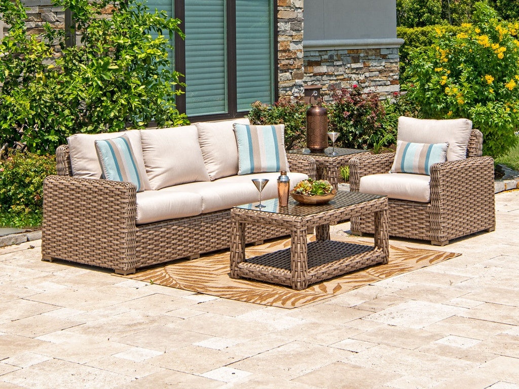 Siesta Aged Teak Outdoor Wicker 3 Pc. Canvas Flax Cushion Sofa Group with  42 x 24 in. Coffee Table