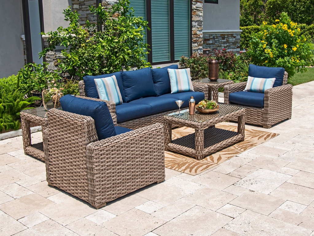 Siesta Aged Teak Aluminum and Outdoor Wicker 4 Pc. Sofa Group with 42 x 24  in. Coffee Table