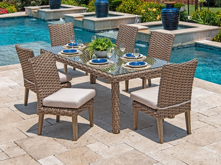 Outdoor Patio Siesta Aged Teak Aluminum And Outdoor Wicker 7 Pc