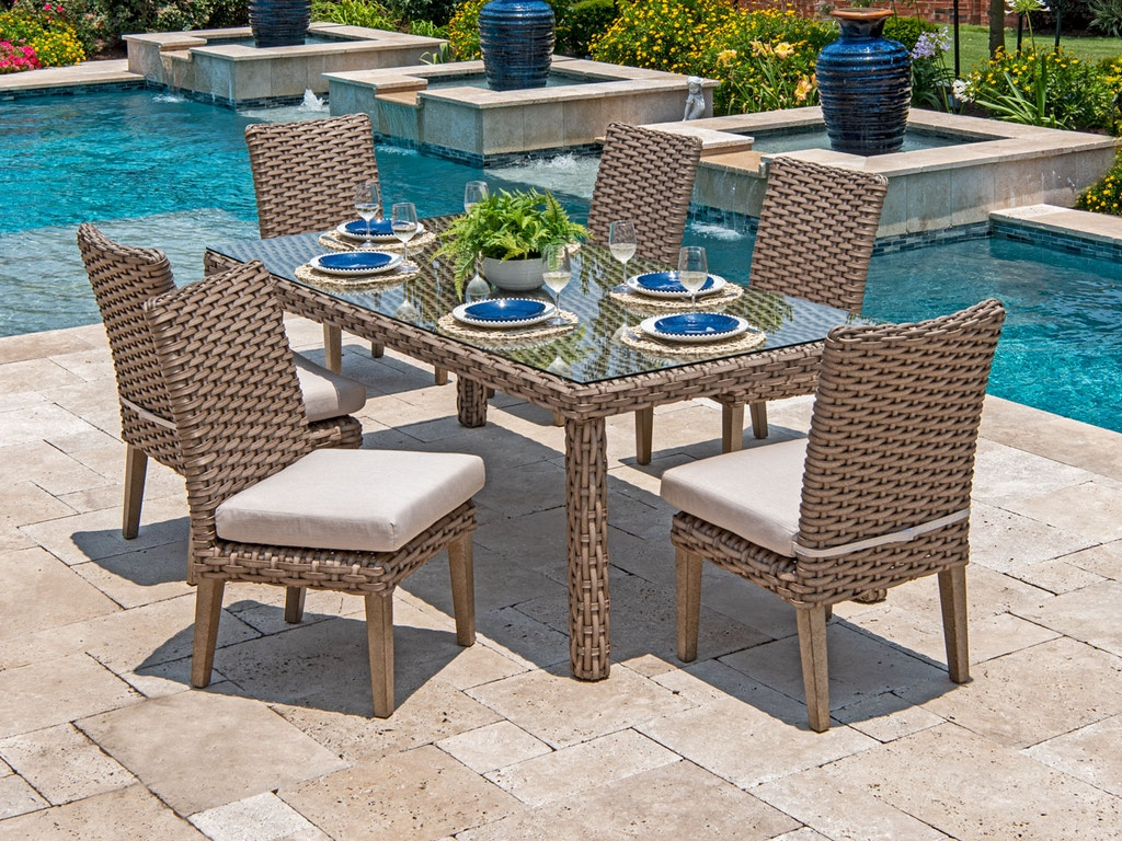 Amazing Siesta Aged Teak Aluminum And Outdoor Wicker 7 Pc Side Chair Dining Set With 84 X 40 In Dining Table Gmtry Best Dining Table And Chair Ideas Images Gmtryco