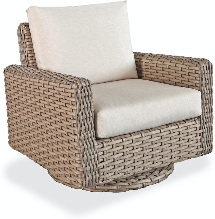 Enjoyable Siesta Weathered Teak Aluminum And Outdoor Wicker Cushion Swivel Glider Club Chair Beatyapartments Chair Design Images Beatyapartmentscom