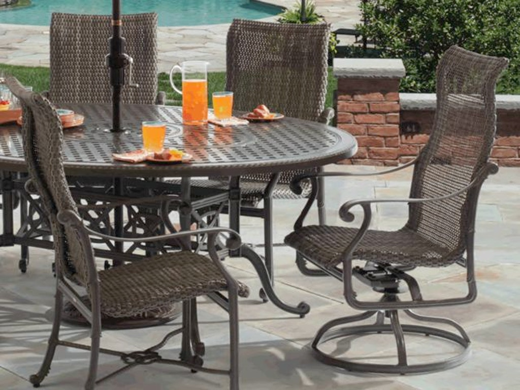 Florence Midnight Gold Cast Aluminum and Outdoor Wicker Dining Set with 80  x 60 in. Dining Table