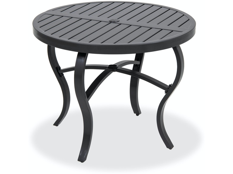 Ibiza Glimmer Grey Aluminum 36 In Round Slat Top Dining Table 6395227