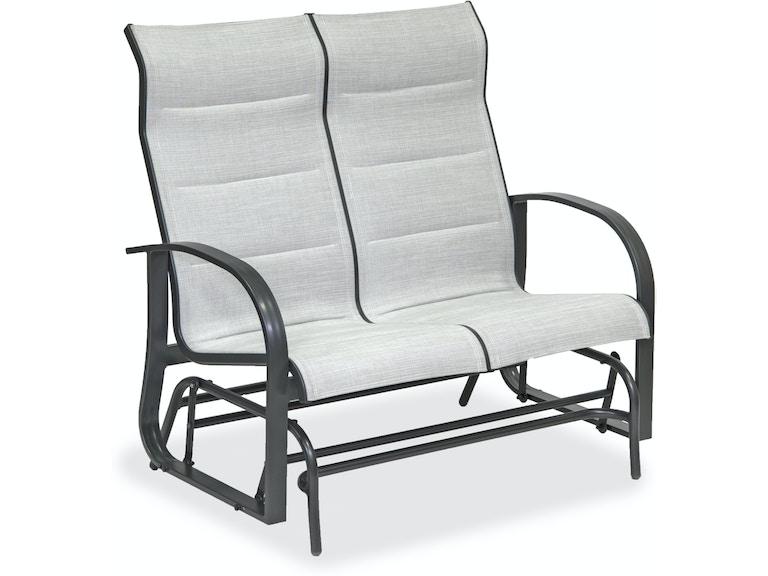 Patio Furniture Loveseat Glider.Ibiza Glimmer Grey Aluminum Padded Sling Loveseat Glider
