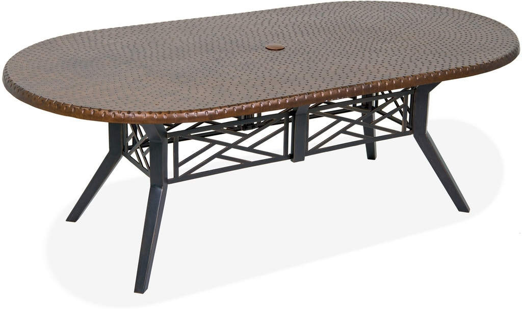 Outdoor Patio Essex Brushed Bronze Aluminum 84 X 44 In Copper Hammered Top Dining Table 7900680
