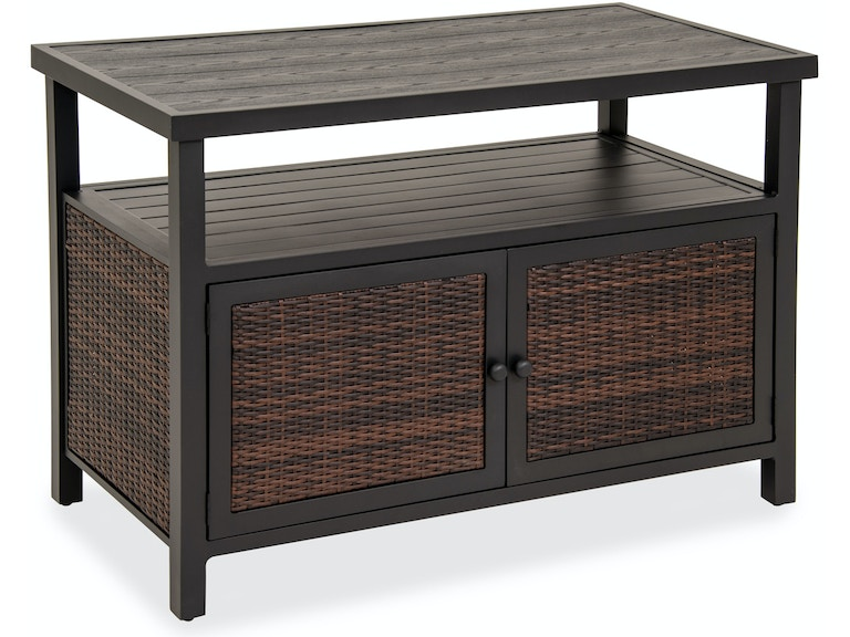 Outdoor Patio Furniture With Storage.Biscayne Sangria Outdoor Resin Wicker 50 X 25 In Console Storage Table