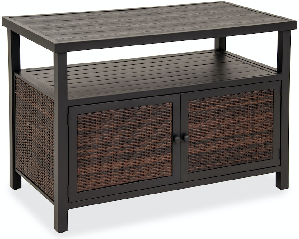 Biscayne Sangria Outdoor Wicker 50 X 25 In Console Storage Table