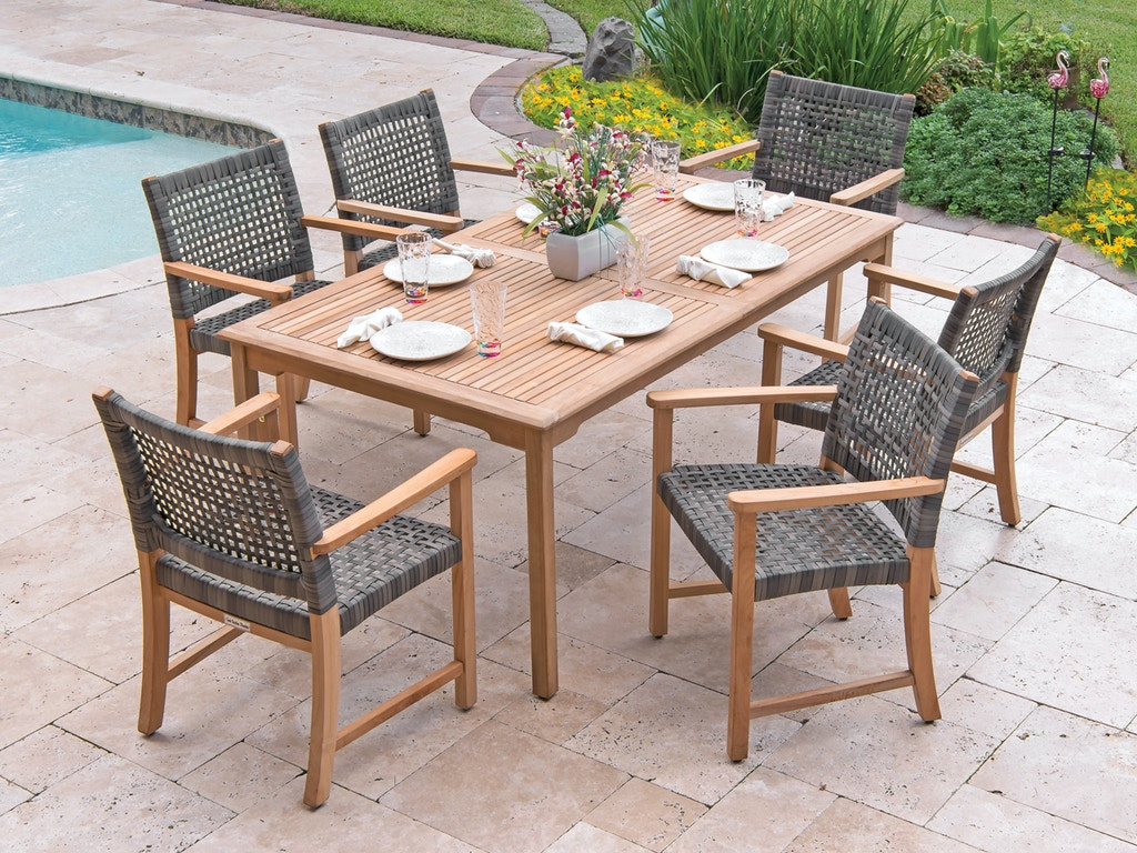 Teak And Resin Wicker 7 Pc Dining Set