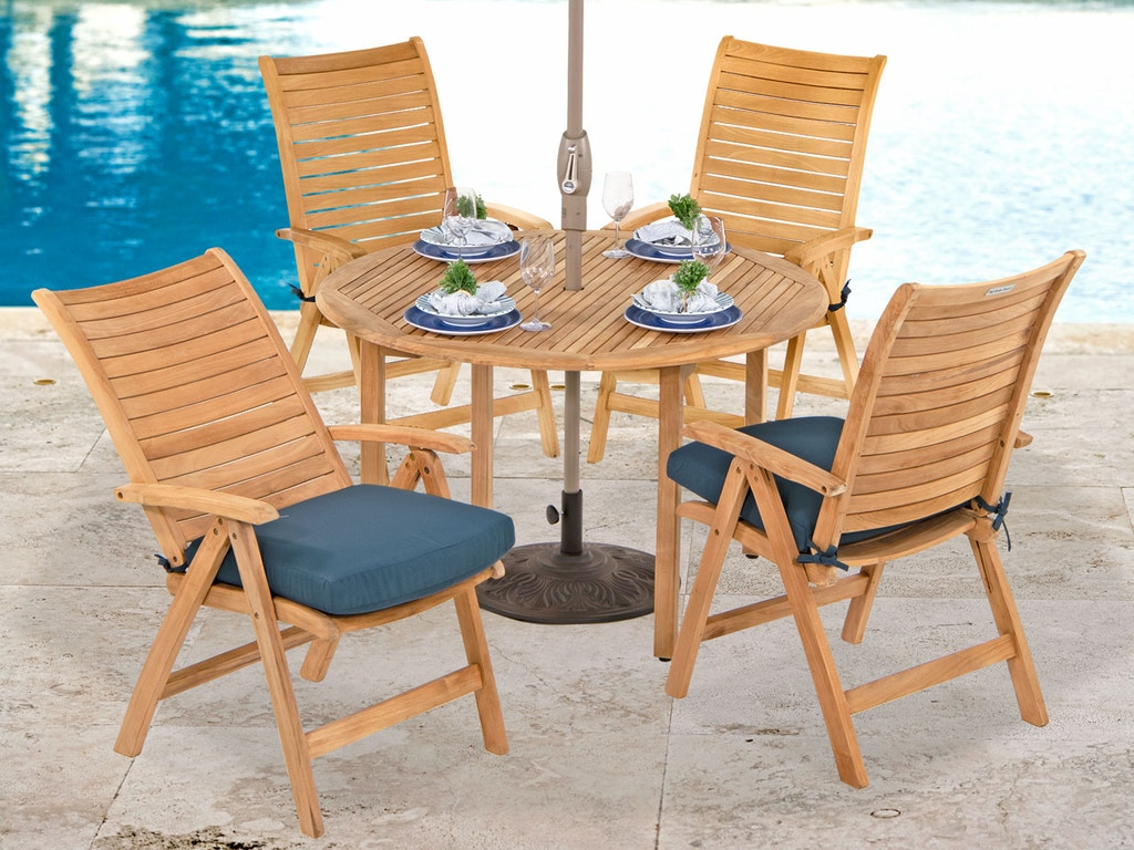 Remarkable Westchester Natural Stain Solid Teak 5 Pc Multi Position Dining Set With 48 In Dining Table Short Links Chair Design For Home Short Linksinfo