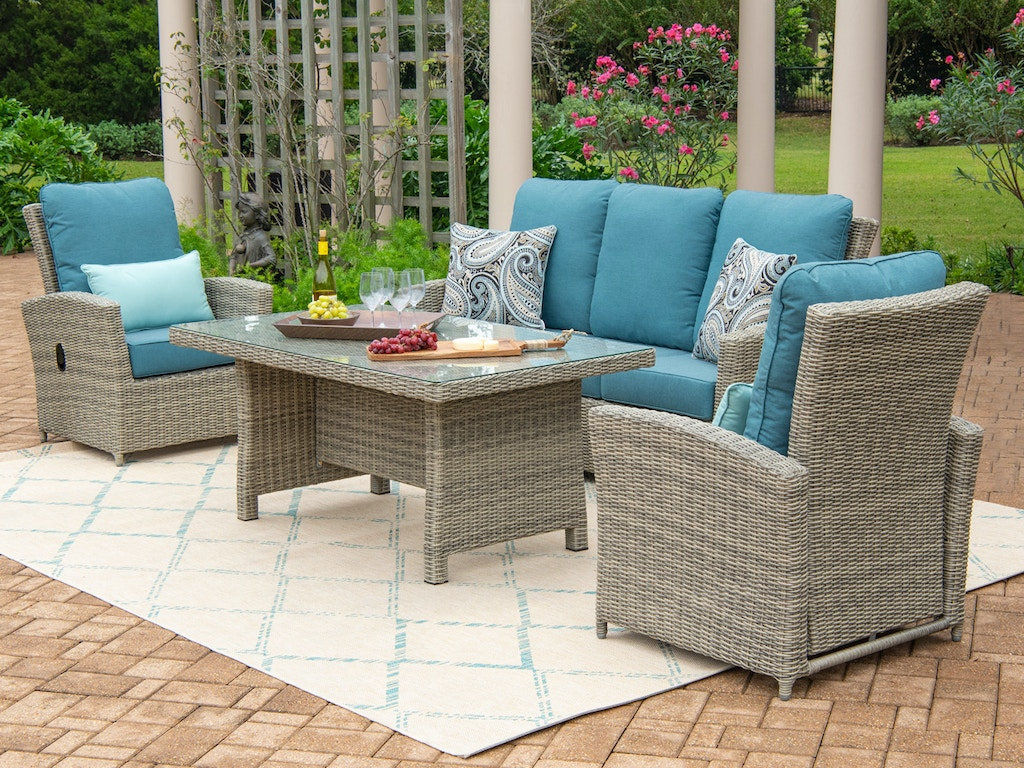 Living Room Tuscany Oyster Outdoor Wicker And Cast Lagoon Cushion 4 Pc Seating Group With 59 X 32