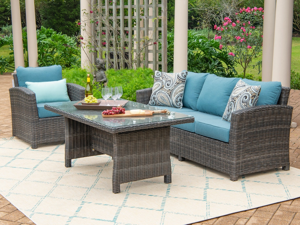 Venice Silver Oak Outdoor Wicker 3 Pc Cast Lagoon Cushion Sofa Group With 59 X 32 In Coffee Table