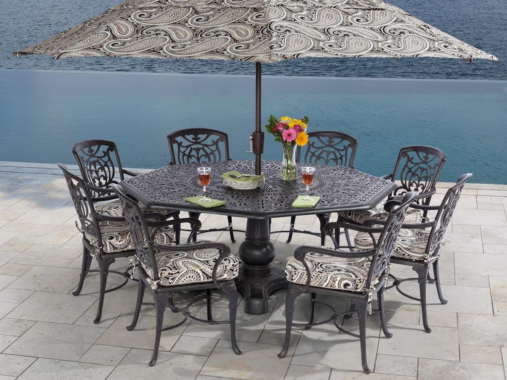 Remarkable Verona 9 Pc Cast Aluminum Dining Set With 72 Octagonal Pedestal Dining Table Cjindustries Chair Design For Home Cjindustriesco