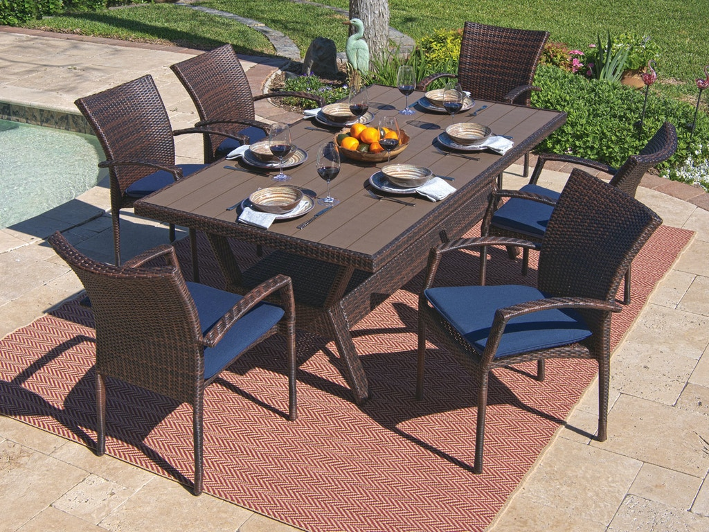 Pleasant Sierra Sangria Aluminum And Resin Wicker 7 Pc Dining Set With 76 X 42 In Slat Top Table Download Free Architecture Designs Intelgarnamadebymaigaardcom