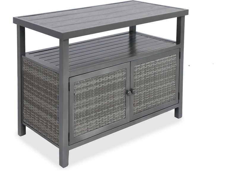 Biscayne Glimmer Grey Outdoor Resin Wicker 50 X 25 In Console Storage Table