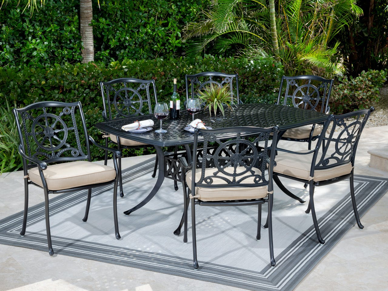 Picture of: Living Room Yacht Club Matte Black Cast Aluminum 7 Pc Dining Set With 72 X 42 In Dining Table