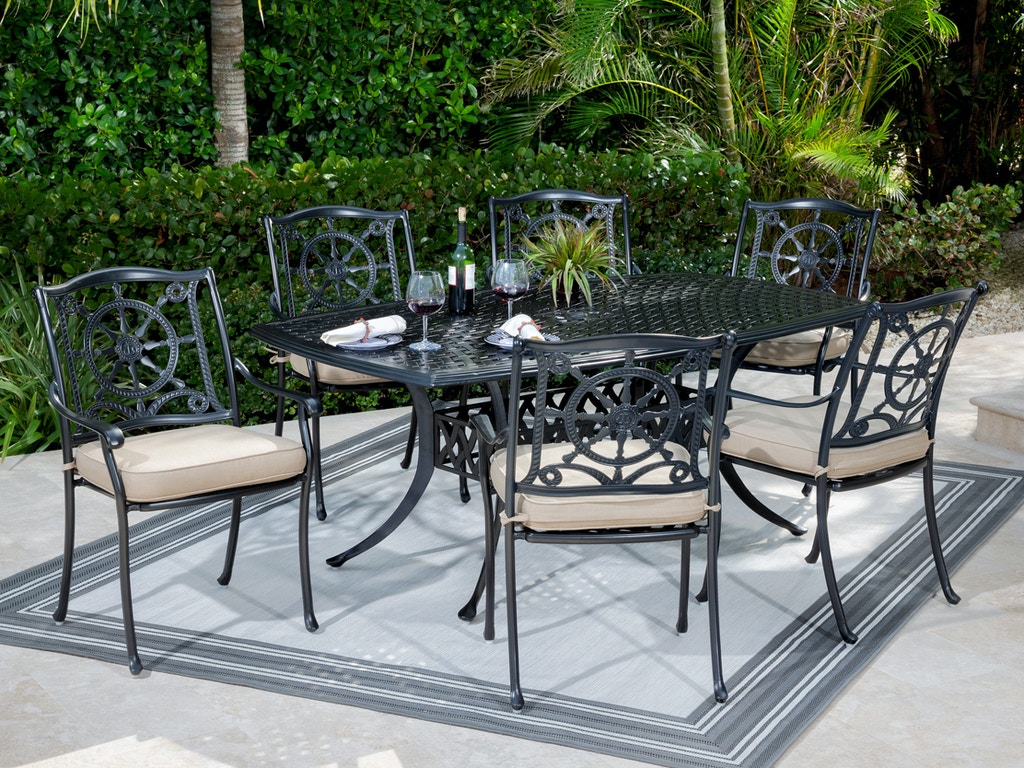 yacht club matte black cast aluminum 7 pc dining set with 72 x 42 in dining table