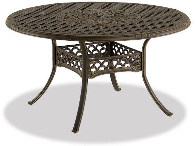 Bordeaux 54 Round Cast Aluminum Table With Inlaid Lazy Susan 2480542