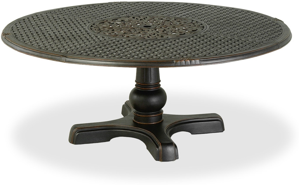 Outdoor Patio Bordeaux 72 Round Cast Aluminum Table With Inlaid Lazy Susan And Pedestal Base