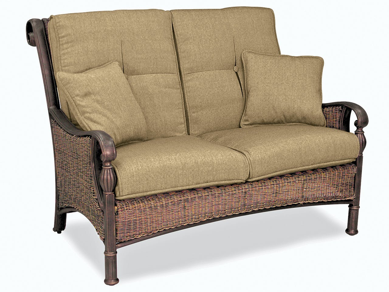 Outdoor Patio Barcelona Black Gold Alumimum And Outdoor Wicker With Pampas Linen Cushion Loveseat