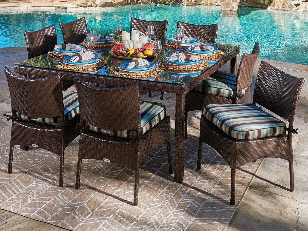 Living Room Martinique Java Brown Outdoor Herringbone Wicker 9 Pc Dining Set With Side Chairs And