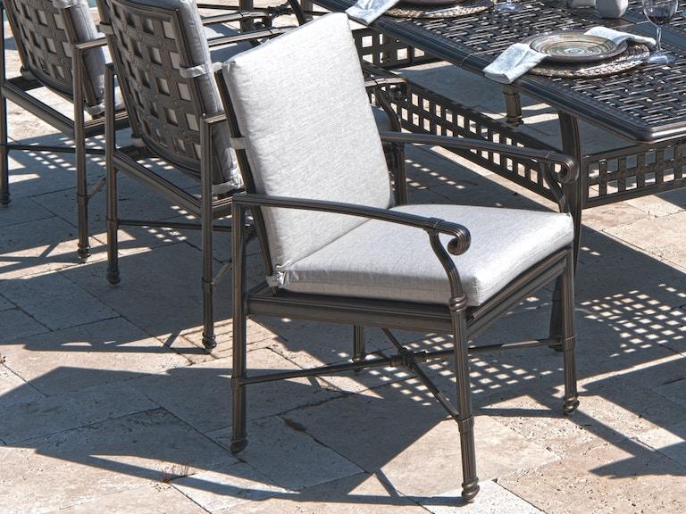 Cast Silver Sunbrella Carmel High Back Dining Chair Cushion