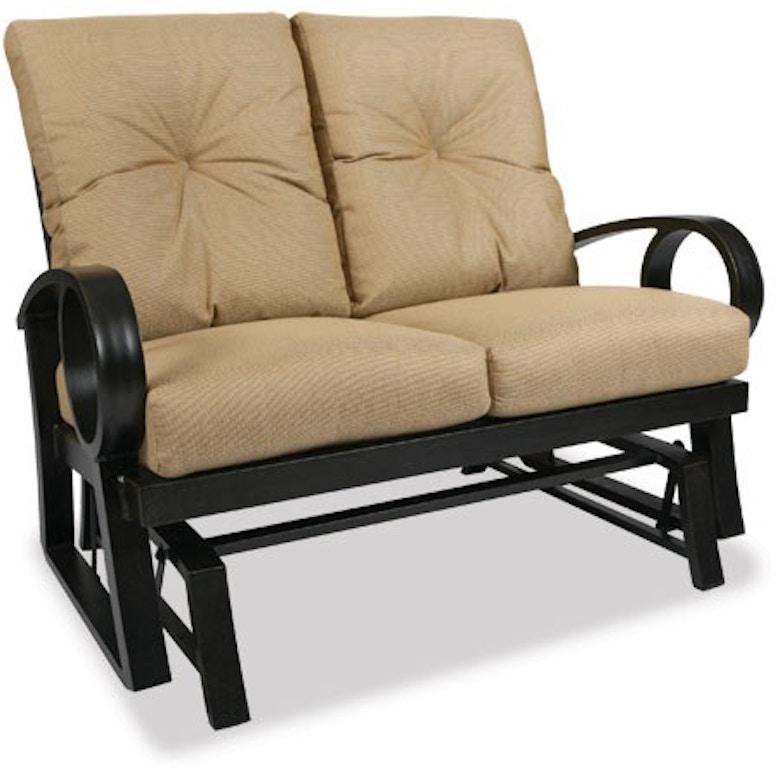 Patio Furniture Loveseat Glider.Eclipse Cushion Aluminum Loveseat Glider