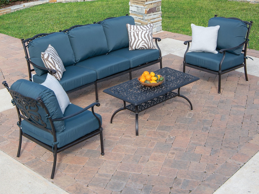 Terrific Milan 4 Pc Cast Aluminum Sofa Group In Navywith 45 X 24 Rectangular Coffee Table Home Interior And Landscaping Synyenasavecom