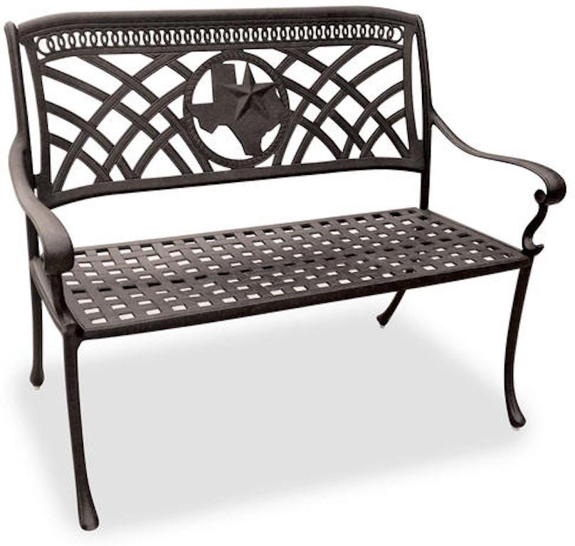 Texas Star Aged Bronze Cast Aluminum 4 Ft Park Bench