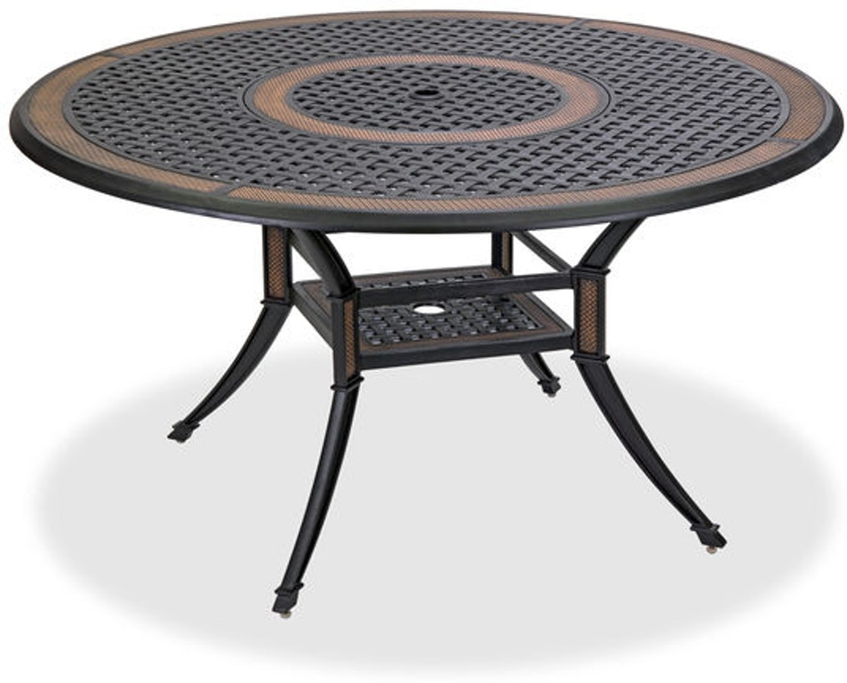 Outdoor Patio Lexington 54 In Round Cast Aluminum Dining Table With Inlaid Lazy Susan 3195080