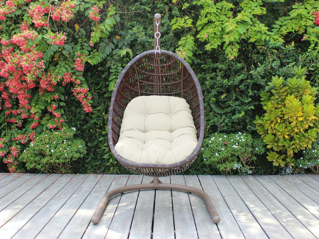 Outdoor Patio Chocolate Outdoor Wicker With Cast Pumice Cushion Hanging Chair Swing 3724904 Chair