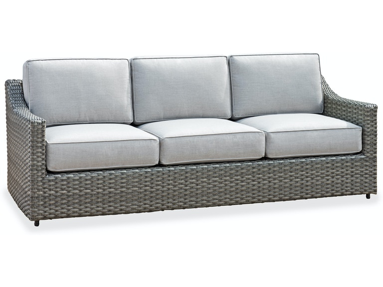 Horizon Aluminum & Outdoor Wicker Sofa in Cast Silver