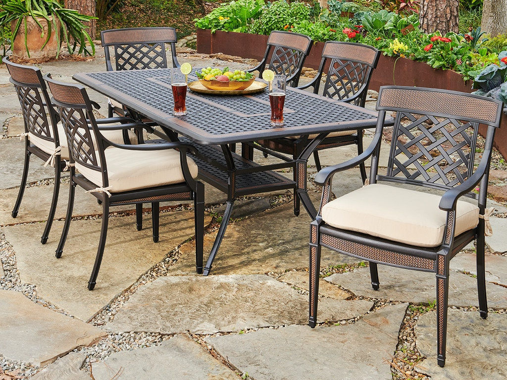 Living Room Lexington Golden Mist Cast Aluminum 7 Pc Dining Set With Arm Chairs And 84 X 42 In
