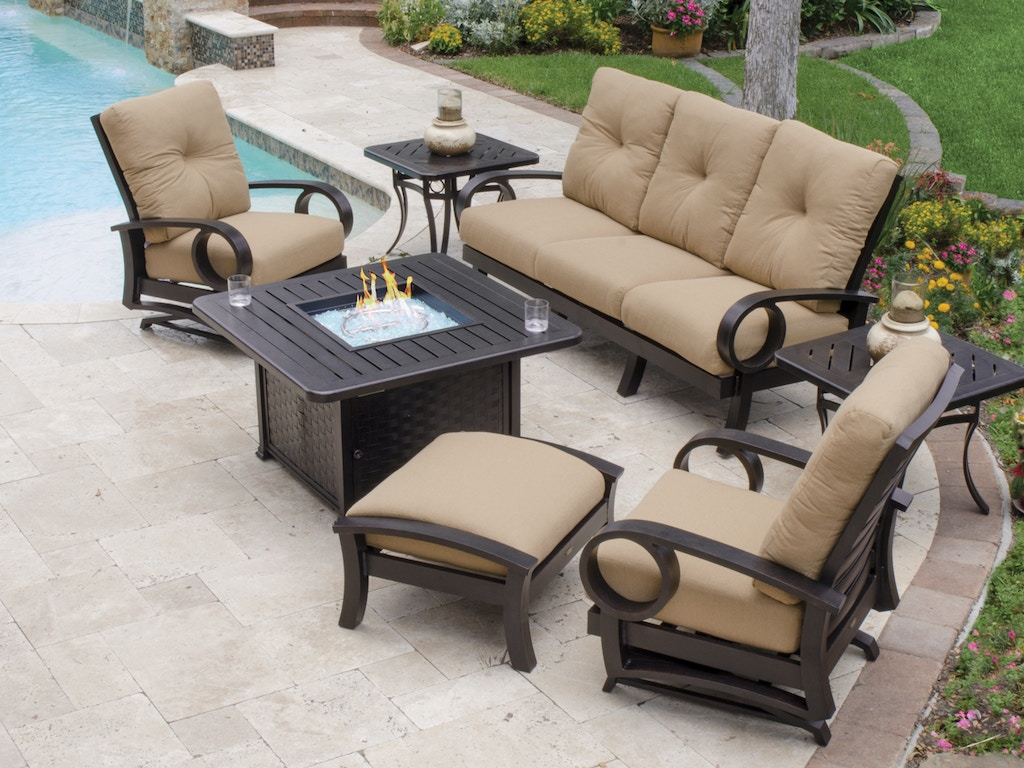 Living Room Eclipse Cushion 4 Pc Aluminum Spring Fire Pit Seating Group With 58 X 36 In