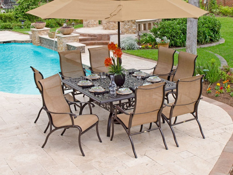 Scarsdale Sling 9 Pc Dining Setwith 64 Square Cast Aluminum Table 2960909