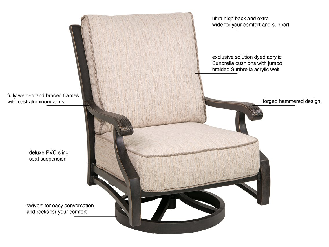 Picture of: Outdoor Patio Turin Tawney Aluminum And Charlotte Sparrow Swivel Spring Club Chair 3199955 Chair